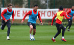 Sam Gallagher(L) and Maya Yoshida during Southampton FC training session at the Staplewood Campus, Southampton, 22nd March 2019