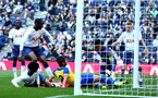 LONDON, ENGLAND - MARCH 24:  A near miss as Spur's keeper tries to secure the ball whilst Benni Smails Braithwaite attempts to slide the ball across the line during the U18s Premier League match between Tottenham Hot Spur and Southampton FC at Tottenham Hotspur Stadium on March 24, 2019 in London, England. (Photo by James Bridle - Southampton FC/Southampton FC via Getty Images)