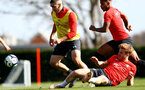 SOUTHAMPTON, ENGLAND - MARCH 27: Oriol Romeu(L) and Stuart Armstrong during a Southampton FC training session at the Staplewood Campus on March 27, 2019 in Southampton, England. (Photo by Matt Watson/Southampton FC via Getty Images)