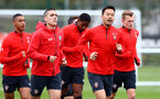 SOUTHAMPTON, ENGLAND - APRIL 02: Players warm up during a Southampton FC training session at the Staplewood Campus on April 02, 2019 in Southampton, England. (Photo by Matt Watson/Southampton FC via Getty Images)