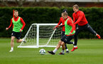 SOUTHAMPTON, ENGLAND - APRIL 02: James Ward-Prowse(L) under pressure from Matt Targett during a Southampton FC training session at the Staplewood Campus on April 02, 2019 in Southampton, England. (Photo by Matt Watson/Southampton FC via Getty Images)