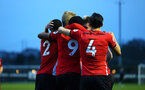 SOUTHAMPTON, ENGLAND - APRIL 05:  Tom O'Connor  scores and celebrates with Alfie Jones, Christoph Klarer, Aaron O'Driscoll, Kayne Ramsay during the U23's PL2 match between Southampton FC and Norwich City pictured at Staplewood Complex on April 05, 2019 in Southampton, England. (Photo by James Bridle - Southampton FC/Southampton FC via Getty Images)