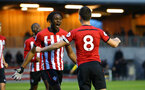 SOUTHAMPTON, ENGLAND - APRIL 05:  Tom O'Connor (right) scores and celebrates with Dan Nlundulu  (left) during the U23's PL2 match between Southampton FC and Norwich City pictured at Staplewood Complex on April 05, 2019 in Southampton, England. (Photo by James Bridle - Southampton FC/Southampton FC via Getty Images)