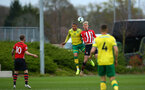 SOUTHAMPTON, ENGLAND - APRIL 05:  Christoph Klarer jumps for the header during the U23's PL2 match between Southampton FC and Norwich City pictured at Staplewood Complex on April 05, 2019 in Southampton, England. (Photo by James Bridle - Southampton FC/Southampton FC via Getty Images)