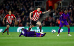 SOUTHAMPTON, ENGLAND - APRIL 05: Pierre-Emile Hojbjerg of Southampton hurdles a tackle from Naby Keita of Liverpool during the Premier League match between Southampton FC and Liverpool FC at St Mary's Stadium on April 6, 2019 in Southampton, United Kingdom. (Photo by Matt Watson/Southampton FC via Getty Images)