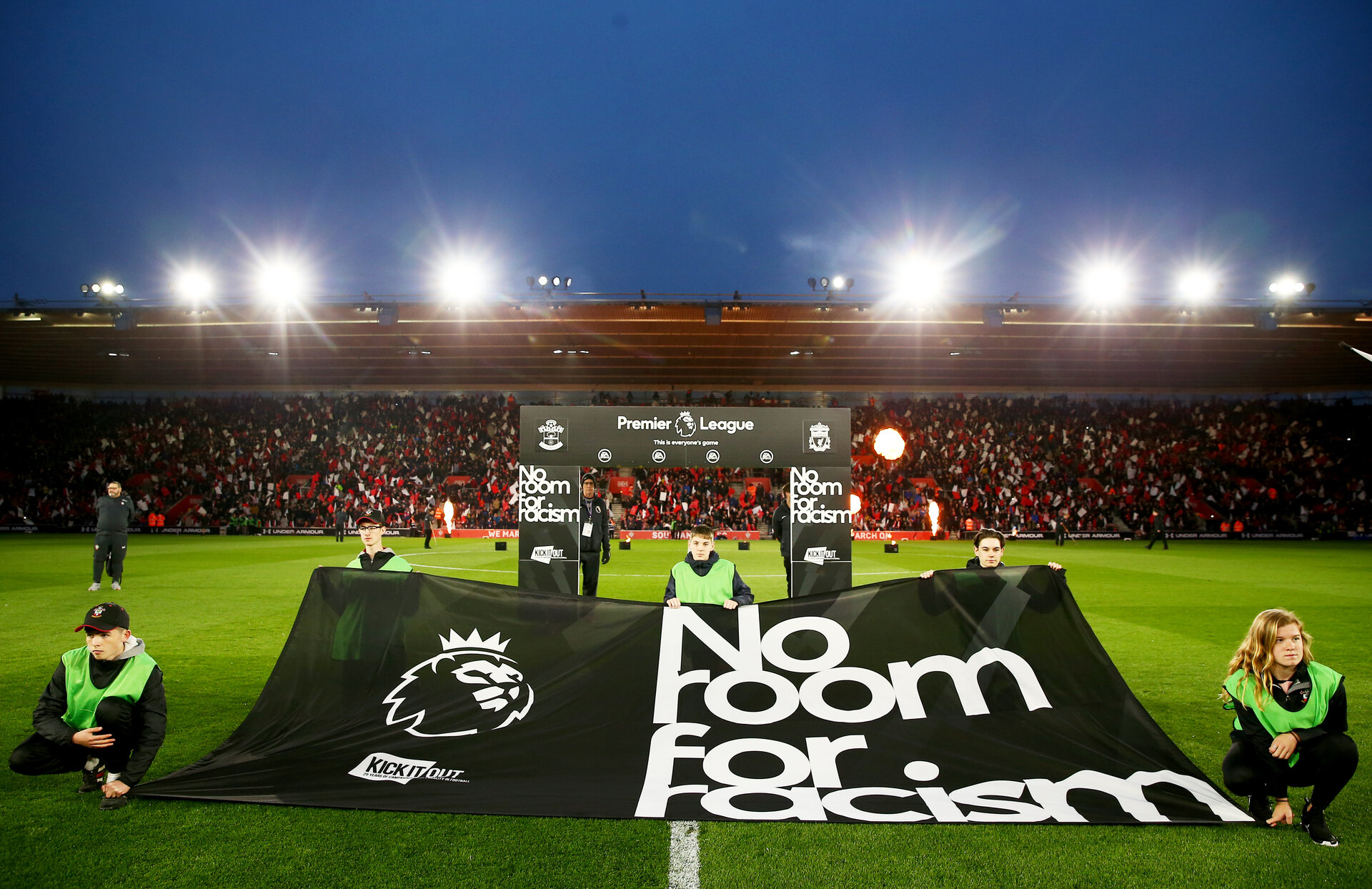 SOUTHAMPTON, ENGLAND - APRIL 05: A 'No Room for Racism' flag during the Premier League match between Southampton FC and Liverpool FC at St Mary's Stadium on April 6, 2019 in Southampton, United Kingdom. (Photo by Matt Watson/Southampton FC via Getty Images)