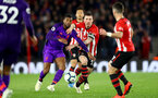 SOUTHAMPTON, ENGLAND - APRIL 05: Pierre-Emile Hojbjerg(R) of Southampton and Georginio Wijnaldum of Liverpool during the Premier League match between Southampton FC and Liverpool FC at St Mary's Stadium on April 6, 2019 in Southampton, United Kingdom. (Photo by Matt Watson/Southampton FC via Getty Images)