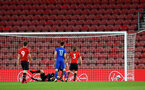 SOUTHAMPTON, ENGLAND - APRIL 10: Zagreb score against Harry Hamblin during the International PL Cup match between Southampton FC and Dinamo Zagreb, pictured at St. Mary's Stadium on April 10, 2019 in Southampton, England. (Photo by James Bridle - Southampton FC/Southampton FC via Getty Images) (Photo by James Bridle - Southampton FC/Southampton FC via Getty Images)