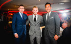 SOUTHAMPTON, ENGLAND - APRIL 12: LtoR Pierre-Emile Højbjerg, James Ward-Prowse, Maya Yoshida during the Southampton FC Foundation Charity Dinner pictured at St Marys Stadium on April 12, 2019 in Southampton, England. (Photo by James Bridle - Southampton FC/Southampton FC via Getty Images)