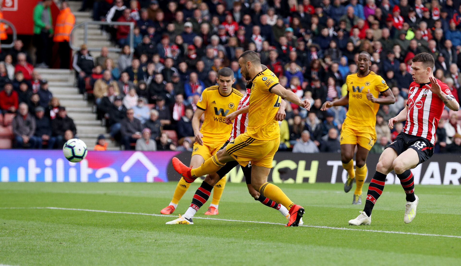 SOUTHAMPTON, ENGLAND - APRIL 13: Nathan Redmond(obscure) of Southampton opens the scoring during the Premier League match between Southampton FC and Wolverhampton Wanderers at St Mary's Stadium on April 13, 2019 in Southampton, United Kingdom. (Photo by Matt Watson/Southampton FC via Getty Images)