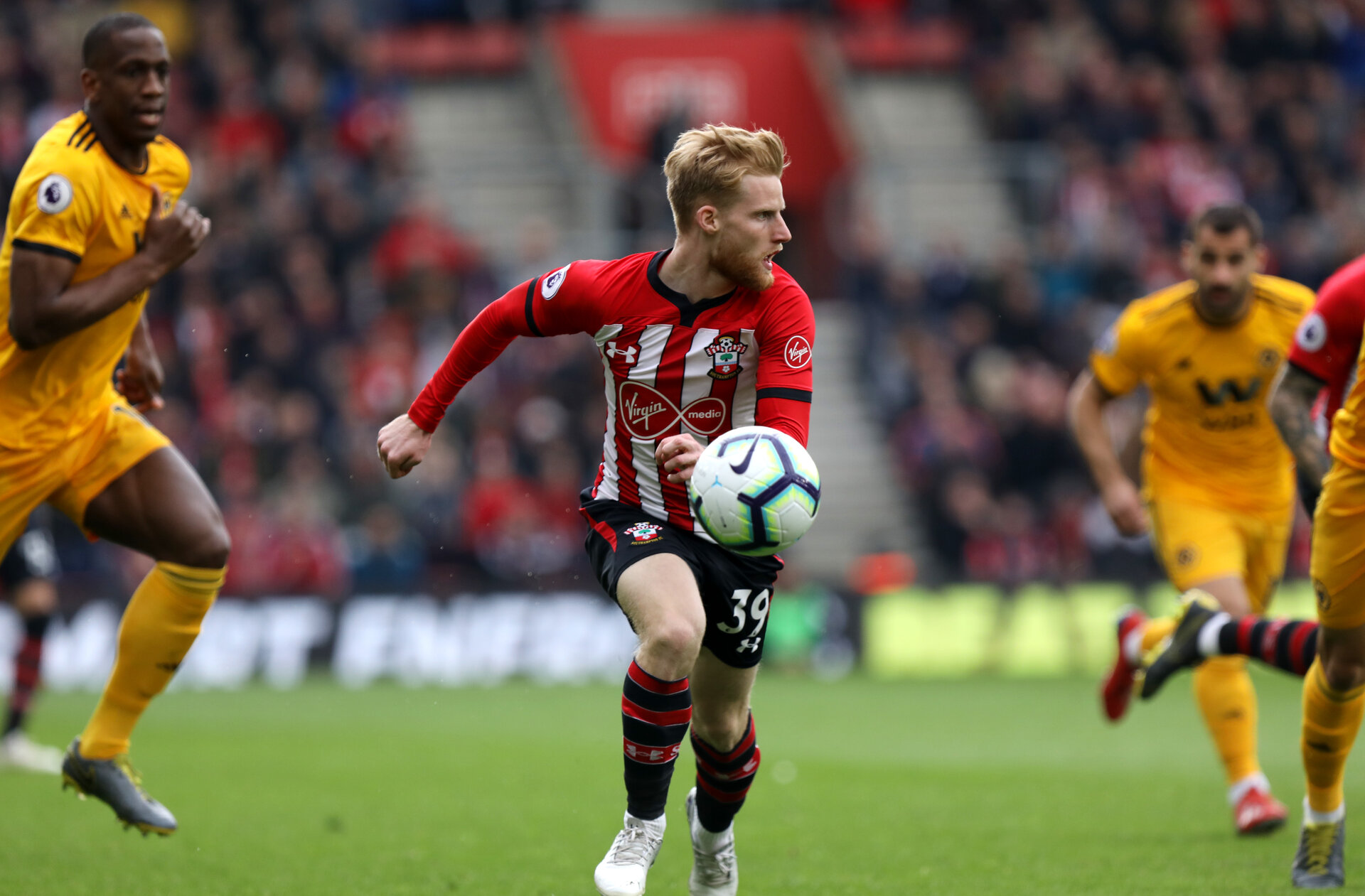 SOUTHAMPTON, ENGLAND - APRIL 13: Josh Sims during the Premier League match between Southampton FC and Wolverhampton Wanderers at St Mary's Stadium on April 13, 2019 in Southampton, United Kingdom. (Photo by Chris Moorhouse/Southampton FC via Getty Images)