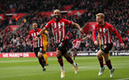SOUTHAMPTON, ENGLAND - APRIL 13: Nathan Redmond's first goal celebration during the Premier League match between Southampton FC and Wolverhampton Wanderers at St Mary's Stadium on April 13, 2019 in Southampton, United Kingdom. (Photo by Chris Moorhouse/Southampton FC via Getty Images)