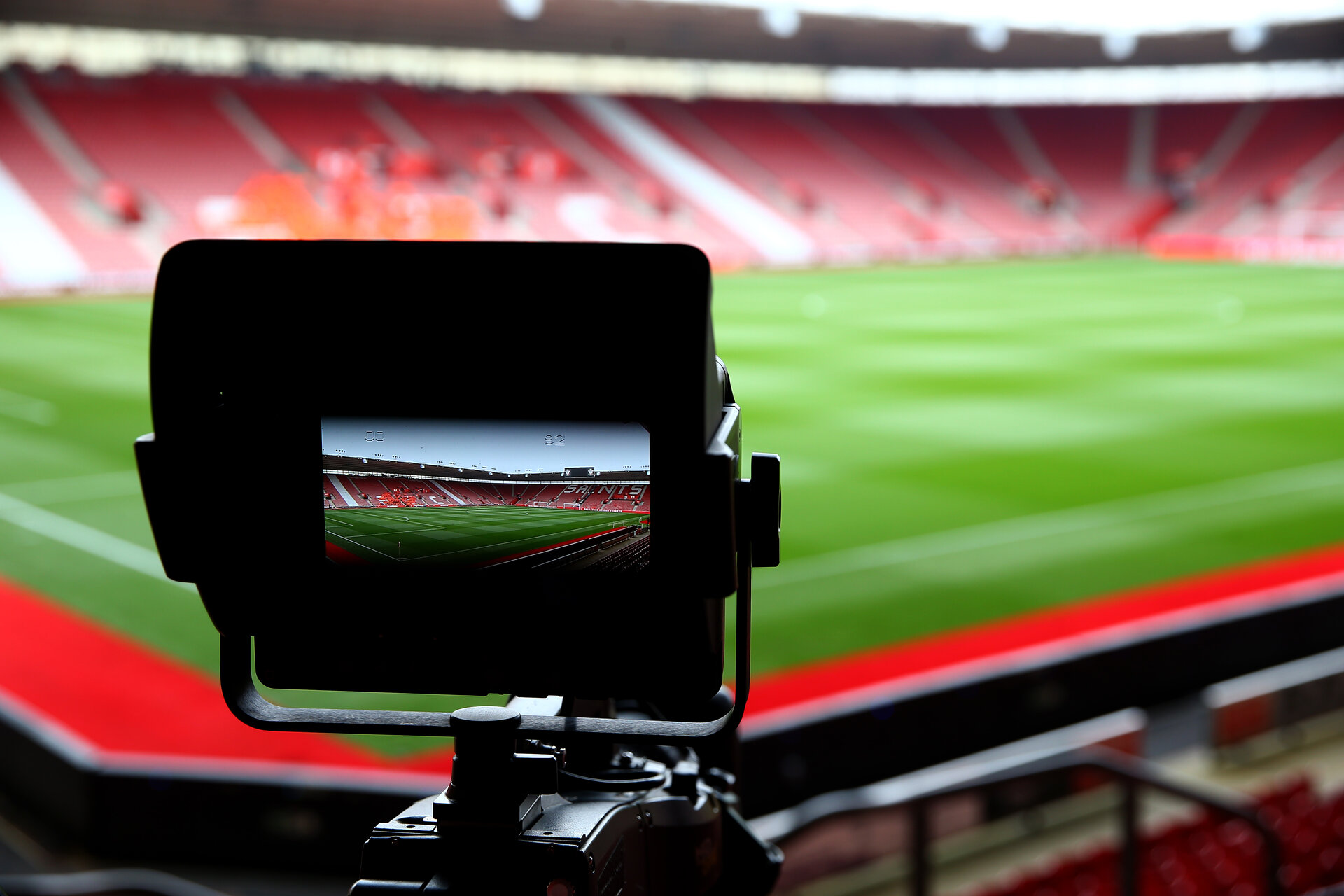 SOUTHAMPTON, ENGLAND - APRIL 13: General view through the lens of a tv camera ahead of the Premier League match between Southampton FC and Wolverhampton Wanderers at St Mary's Stadium on April 13, 2019 in Southampton, United Kingdom. (Photo by Matt Watson/Southampton FC via Getty Images)