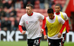 SOUTHAMPTON, ENGLAND - APRIL 13: Pierre-Emile Hojbjerg of Southampton warms up in Saints Foundation t shirts during the Premier League match between Southampton FC and Wolverhampton Wanderers at St Mary's Stadium on April 13, 2019 in Southampton, United Kingdom. (Photo by Matt Watson/Southampton FC via Getty Images)