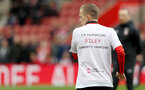 SOUTHAMPTON, ENGLAND - APRIL 13: James Ward-Prowse of Southampton warms up in Saints Foundation t shirts during the Premier League match between Southampton FC and Wolverhampton Wanderers at St Mary's Stadium on April 13, 2019 in Southampton, United Kingdom. (Photo by Matt Watson/Southampton FC via Getty Images)