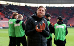SOUTHAMPTON, ENGLAND - APRIL 13: Ralph Hasenhuttl of Southampton during the Premier League match between Southampton FC and Wolverhampton Wanderers at St Mary's Stadium on April 13, 2019 in Southampton, United Kingdom. (Photo by Matt Watson/Southampton FC via Getty Images)