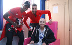 SOUTHAMPTON, ENGLAND - APRIL 17: Mario Lemina(L) and Angus Gunn as Southampton FC staff and players visit Southampton General Hospital, on April 17, 2019 in Southampton, England. (Photo by Matt Watson/Southampton FC via Getty Images)