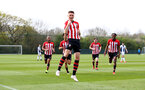 WEST BROMWICH, ENGLAND - APRIL 18: Will Smallbone of Southampton scores and celebrates (middle) during the Under 23s PL2 match between West Bromwich and Southampton FC pictured on April 18, 2019 in West Bromwich, England. (Photo by James Bridle - Southampton FC/Southampton FC via Getty Images)