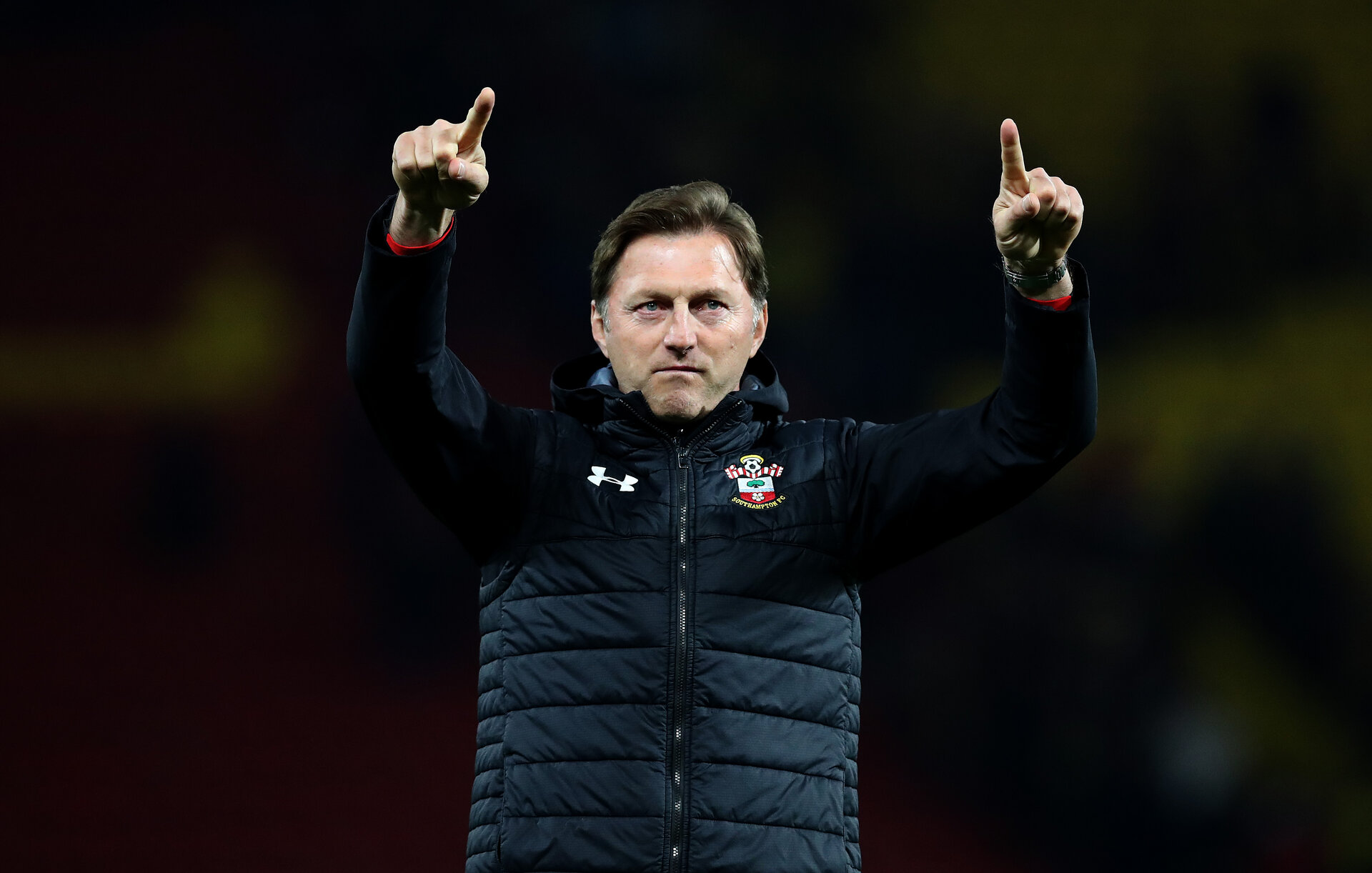 WATFORD, ENGLAND - APRIL 23: Ralph Hasenhuttl of Southampton during the Premier League match between Watford FC and Southampton FC at Vicarage Road on April 23, 2019 in Watford, United Kingdom. (Photo by Matt Watson/Southampton FC via Getty Images)