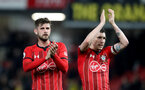 WATFORD, ENGLAND - APRIL 23: Jack Stephens(L) and Pierre-Emile Hojbjerg of Southampton during the Premier League match between Watford FC and Southampton FC at Vicarage Road on April 23, 2019 in Watford, United Kingdom. (Photo by Matt Watson/Southampton FC via Getty Images)