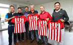 FAREHAM, ENGLAND - APRIL 24: Matt Le Tissier (Left-Middle) presents awards for winning teams during the Southampton partnerships golf event pictured at Skylark Country Club on April 24, 2019 in Fareham, England. (Photo by James Bridle - Southampton FC/Southampton FC via Getty Images)