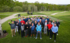 FAREHAM, ENGLAND - APRIL 24: Team Photo of all competing teams as well as VIP Matt Le Tissier (middle-front) during the Southampton partnerships golf event pictured at Skylark Country Club on April 24, 2019 in Fareham, England. (Photo by James Bridle - Southampton FC/Southampton FC via Getty Images)