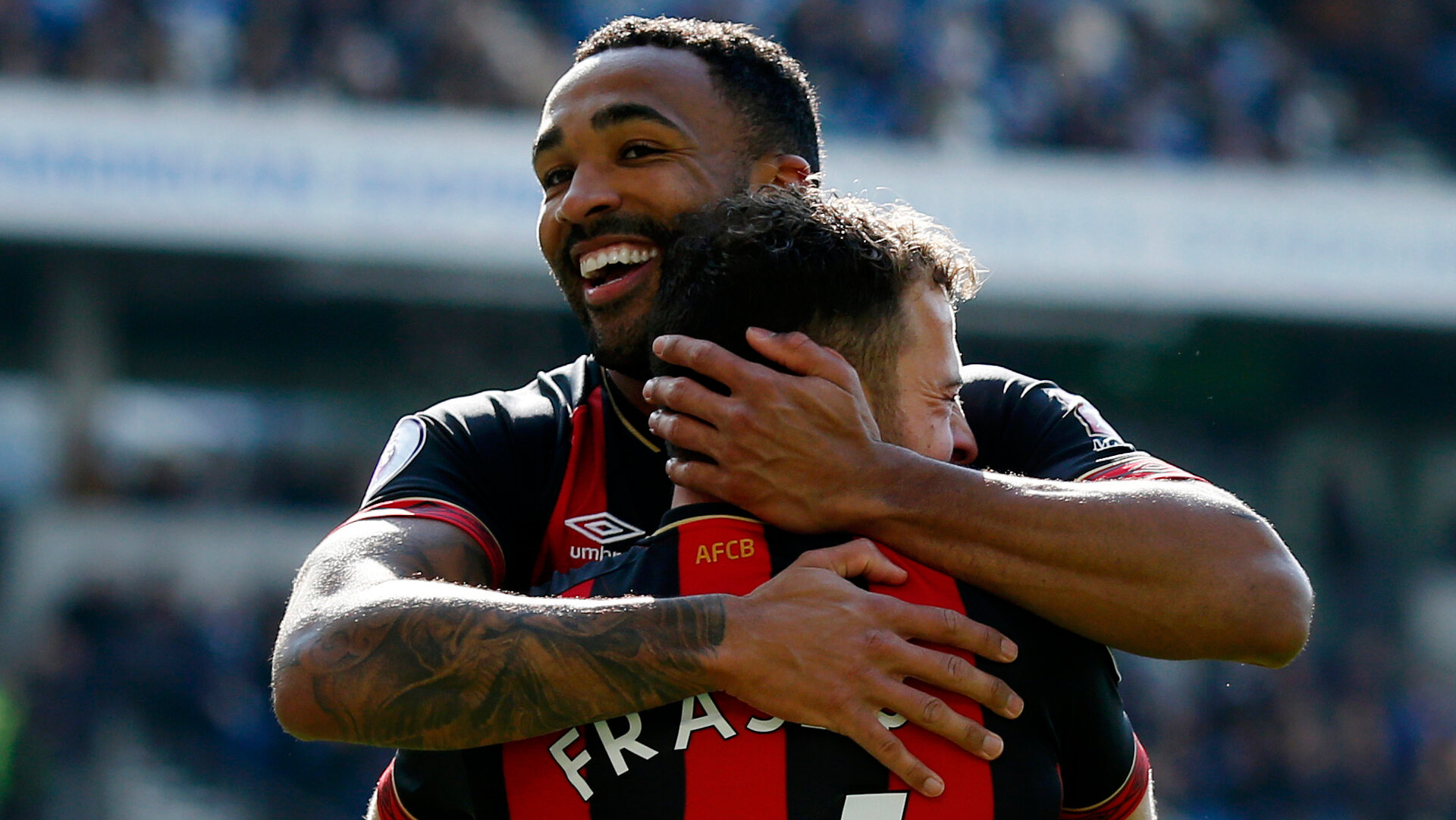 BRIGHTON, ENGLAND - APRIL 13: Ryan Fraser of AFC Bournemouth celebrates with teammate Callum Wilson after scoring his team's second goal during the Premier League match between Brighton & Hove Albion and AFC Bournemouth at American Express Community Stadium on April 13, 2019 in Brighton, United Kingdom. (Photo by Charlie Crowhurst/Getty Images)