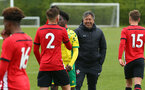 NORWICH, ENGLAND - APRIL 27: U18 Coach Paul Hardyman (right) shakes with he opposition after the final whistle is blown for the last game of the season for the U18 Premier League match between Norwich City FC and Southampton FC pictured at Colney Training Ground on April 27, 2019 in Norwich, England. (Photo by James Bridle - Southampton FC/Southampton FC via Getty Images)