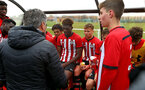 NORWICH, ENGLAND - APRIL 27: U18 Coach Paul Hardyman speaks with the boys after winning their final game at an U18 Premier League match between Norwich City FC and Southampton FC pictured at Colney Training Ground on April 27, 2019 in Norwich, England. (Photo by James Bridle - Southampton FC/Southampton FC via Getty Images)