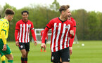 NORWICH, ENGLAND - APRIL 27: Sean Keogh scores (right) and celebrates during a U18 Premier League match between Norwich City FC and Southampton FC pictured at Colney Training Ground on April 27, 2019 in Norwich, England. (Photo by James Bridle - Southampton FC/Southampton FC via Getty Images)