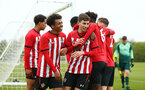 NORWICH, ENGLAND - APRIL 27: LtoR Caleb Watts, James Morris  after Christian Norton scores during a U18 Premier League match between Norwich City FC and Southampton FC pictured at Colney Training Ground on April 27, 2019 in Norwich, England. (Photo by James Bridle - Southampton FC/Southampton FC via Getty Images)