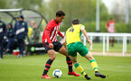 NORWICH, ENGLAND - APRIL 27: Christian Norton (left) during a U18 Premier League match between Norwich City FC and Southampton FC pictured at Colney Training Ground on April 27, 2019 in Norwich, England. (Photo by James Bridle - Southampton FC/Southampton FC via Getty Images)