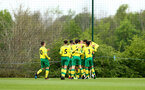 NORWICH, ENGLAND - APRIL 27: Norwich score during a U18 Premier League match between Norwich City FC and Southampton FC pictured at Colney Training Ground on April 27, 2019 in Norwich, England. (Photo by James Bridle - Southampton FC/Southampton FC via Getty Images)