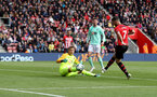 SOUTHAMPTON, ENGLAND - APRIL 27: Shane Long of Southampton hits the post during the Premier League match between Southampton FC and AFC Bournemouth at St Mary's Stadium on April 27, 2019 in Southampton, United Kingdom. (Photo by Matt Watson/Southampton FC via Getty Images)