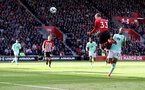 SOUTHAMPTON, ENGLAND - APRIL 27: Matt Targett of Southampton scores with his head to make it 3-2 during the Premier League match between Southampton FC and AFC Bournemouth at St Mary's Stadium on April 27, 2019 in Southampton, United Kingdom. (Photo by Matt Watson/Southampton FC via Getty Images)
