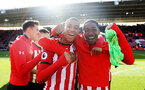 SOUTHAMPTON, ENGLAND - APRIL 27: Yan Valery(L) nd Kayne Ramsay of Southampton during the Premier League match between Southampton FC and AFC Bournemouth at St Mary's Stadium on April 27, 2019 in Southampton, United Kingdom. (Photo by Matt Watson/Southampton FC via Getty Images)