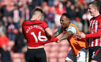 SOUTHAMPTON, ENGLAND - APRIL 27: James Ward-Prowse and Nathaniel Clyne during the Premier League match between Southampton FC and AFC Bournemouth at St Mary's Stadium on April 27, 2019 in Southampton, United Kingdom. (Photo by Chris Moorhouse/Southampton FC via Getty Images)