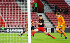 SOUTHAMPTON, ENGLAND - APRIL 29: Marcus Barnes (left) scores during the Premier League 2 match between Southampton FC and Sunderland pictured at St Mary's Stadium on April 29, 2019 in Southampton, England. (Photo by James Bridle - Southampton FC/Southampton FC via Getty Images)