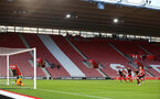 SOUTHAMPTON, ENGLAND - APRIL 29: Will Smallbone takes a penalty for Southampton FC  and scores during the Premier League 2 match between Southampton FC and Sunderland pictured at St Mary's Stadium on April 29, 2019 in Southampton, England. (Photo by James Bridle - Southampton FC/Southampton FC via Getty Images)
