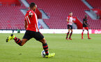 SOUTHAMPTON, ENGLAND - APRIL 29: Tyreke Johnson (left) during the Premier League 2 match between Southampton FC and Sunderland pictured at St Mary's Stadium on April 29, 2019 in Southampton, England. (Photo by James Bridle - Southampton FC/Southampton FC via Getty Images)