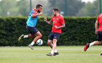SOUTHAMPTON, ENGLAND - MAY 01: Ryan Bertrand(L) and Danny Ings during a Southampton FC training session at the Staplewood Campus on May 01, 2019 in Southampton, England. (Photo by Matt Watson/Southampton FC via Getty Images)