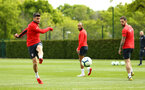 SOUTHAMPTON, ENGLAND - MAY 02:  Shane Long (left) Nathan Redmond (middle)  Danny Ings (right) during a Southampton FC training session pictured at Staplewood Complex on May 2, 2019 in Southampton, England. (Photo by James Bridle - Southampton FC/Southampton FC via Getty Images)