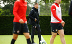 SOUTHAMPTON, ENGLAND - MAY 02:  Ralph Hasenhuttl (middle)  during a Southampton FC training session pictured at Staplewood Complex on May 2, 2019 in Southampton, England. (Photo by James Bridle - Southampton FC/Southampton FC via Getty Images)