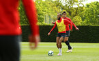 SOUTHAMPTON, ENGLAND - MAY 02:  Nathan Redmond (right) during a Southampton FC training session pictured at Staplewood Complex on May 2, 2019 in Southampton, England. (Photo by James Bridle - Southampton FC/Southampton FC via Getty Images)
