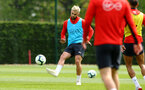 SOUTHAMPTON, ENGLAND - MAY 02:  Charlie Austin (left) during a Southampton FC training session pictured at Staplewood Complex on May 2, 2019 in Southampton, England. (Photo by James Bridle - Southampton FC/Southampton FC via Getty Images)