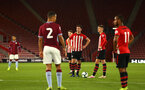 SOUTHAMPTON, ENGLAND - MAY 03: Will Smallbone (right) takes a free kick with team captain Tom O'Connor  (middle)  during the U23s PL2 Play off Semi-Final between Southampton FC and Aston Villa FC pictured at St Mary's Stadium on May 03, 2019 in Southampton, England. (Photo by James Bridle - Southampton FC/Southampton FC via Getty Images)