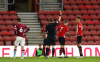 SOUTHAMPTON, ENGLAND - MAY 03: Callum Slattery receives a yellow card  (middle)  during the U23s PL2 Play off Semi-Final between Southampton FC and Aston Villa FC pictured at St Mary's Stadium on May 03, 2019 in Southampton, England. (Photo by James Bridle - Southampton FC/Southampton FC via Getty Images)