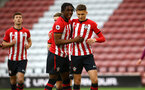 SOUTHAMPTON, ENGLAND - MAY 03: Will Smallbone of Southampton (right) celebrates with Dan Nlundulu (left) after scoring from the penalty spot during the U23s PL2 Play off Semi-Final between Southampton FC and Aston Villa FC pictured at St Mary's Stadium on May 03, 2019 in Southampton, England. (Photo by James Bridle - Southampton FC/Southampton FC via Getty Images)