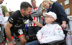 Francis Benali's IronFran challenge for Cancer Research UK. Franny finishes the Southampton Marathon. Franny pictured with Leon Mooney