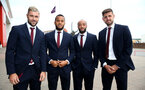 L to R, Charlie Austin, Ryan Bertrand, Nathan Redmond and Jack Stephens during the 2018/19 Southampton FC Player Awards night, at St Mary's Stadium, Southampton, 7th May 2019